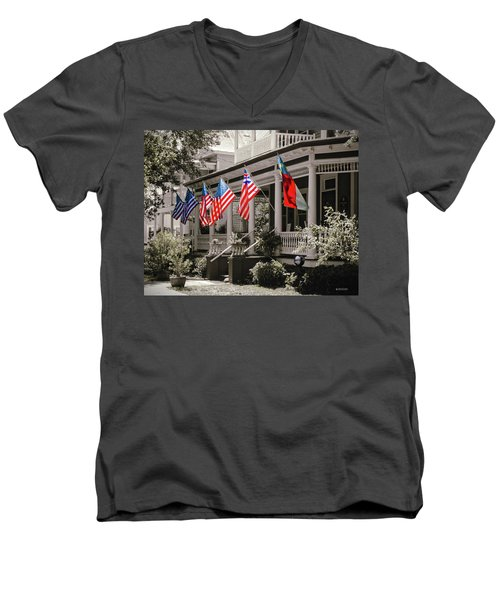Independence Day Southport Style Men's V-Neck T-Shirt by Phil Mancuso