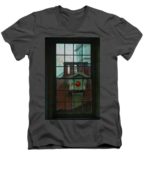 Men's V-Neck T-Shirt featuring the photograph Independence Hall Through Congressional Window by Jeff Burgess