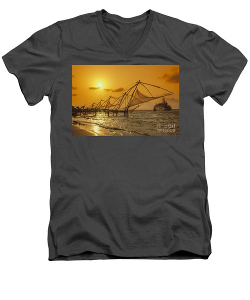 Men's V-Neck T-Shirt featuring the photograph India Cochin by Juergen Held