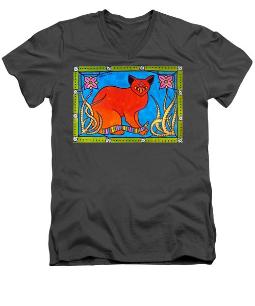 Indian Cat With Lilies Men's V-Neck T-Shirt