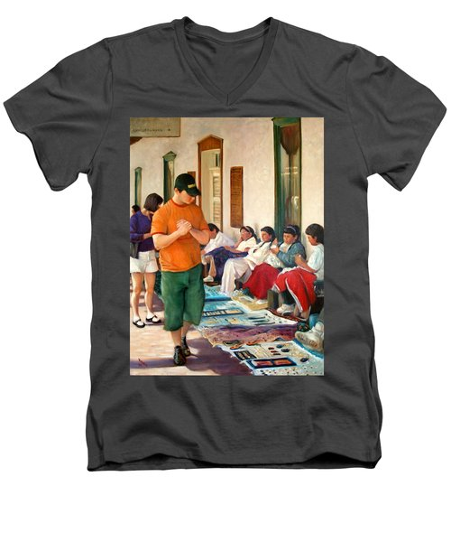 Men's V-Neck T-Shirt featuring the painting Indian Market by Donelli  DiMaria