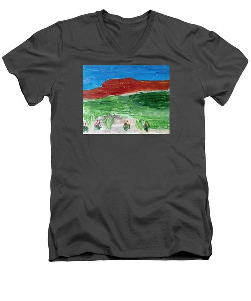 Men's V-Neck T-Shirt featuring the painting Indian Paintbrush Under A Midday Sun by Brenda Pressnall