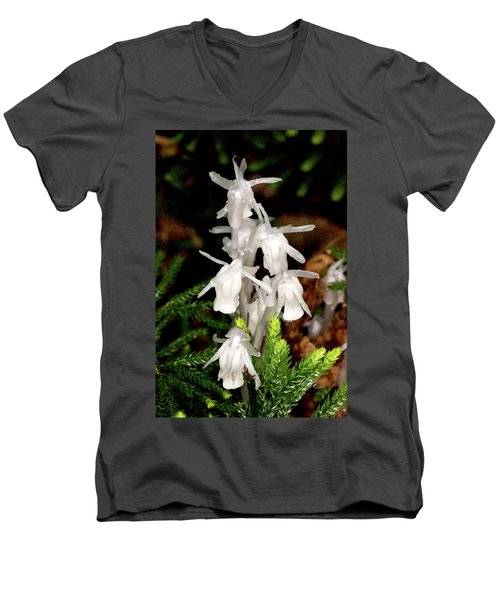 Indian Pipes On Club Moss Men's V-Neck T-Shirt by Meta Gatschenberger