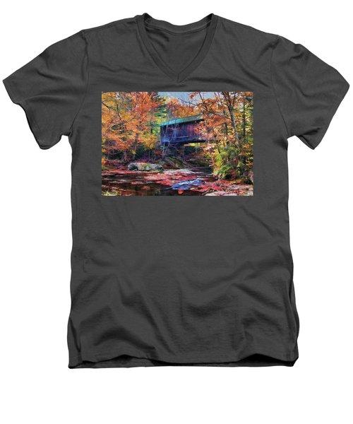 Men's V-Neck T-Shirt featuring the digital art Indian Summer by John Selmer Sr