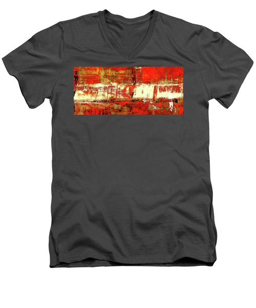 Indian Summer - Red Contemporary Abstract Men's V-Neck T-Shirt by Modern Art Prints