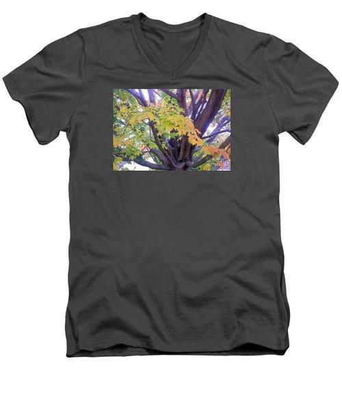 Indian Tree Men's V-Neck T-Shirt by Kristine Nora