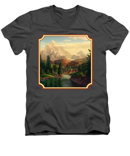 Indian Village Trapper Western Mountain Landscape Oil Painting - Native Americans -square Format Men's V-Neck T-Shirt