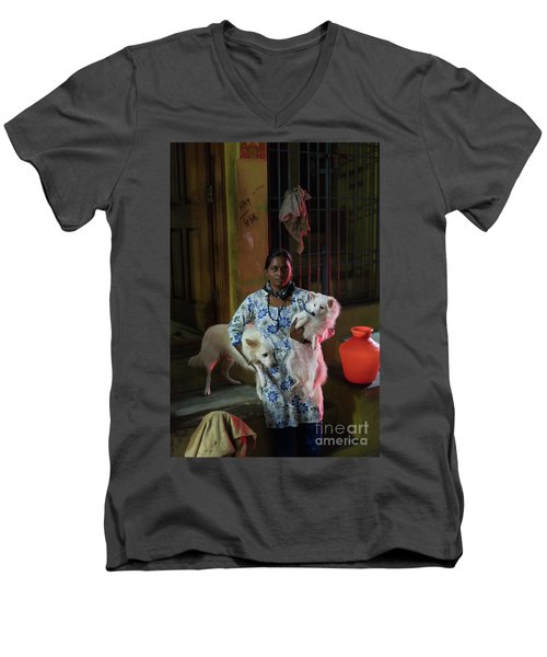 Men's V-Neck T-Shirt featuring the photograph Indian Woman And Her Dogs by Mike Reid