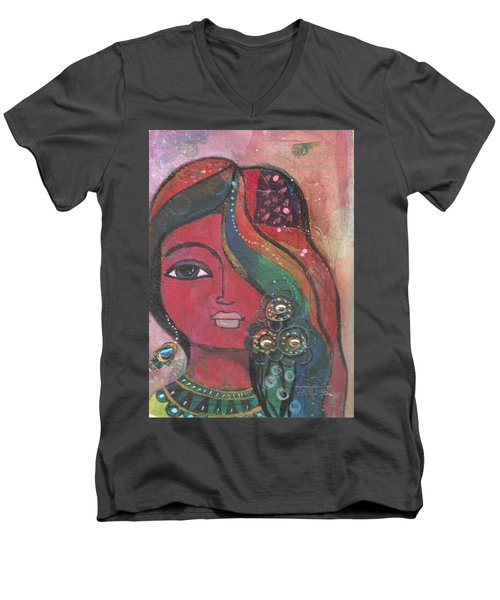 Indian Woman With Flowers  Men's V-Neck T-Shirt