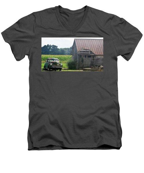 Indiana Back Road Common Denominator Men's V-Neck T-Shirt by John Glass