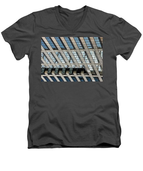 Indianapolis Downtown Men's V-Neck T-Shirt by Michael Nowotny