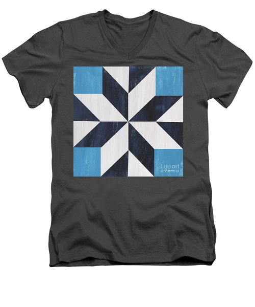Men's V-Neck T-Shirt featuring the painting Indigo And Blue Quilt by Debbie DeWitt