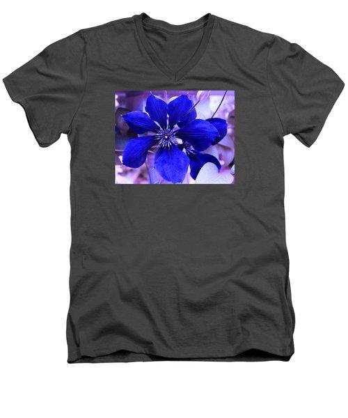 Indigo Flower Men's V-Neck T-Shirt by Milena Ilieva
