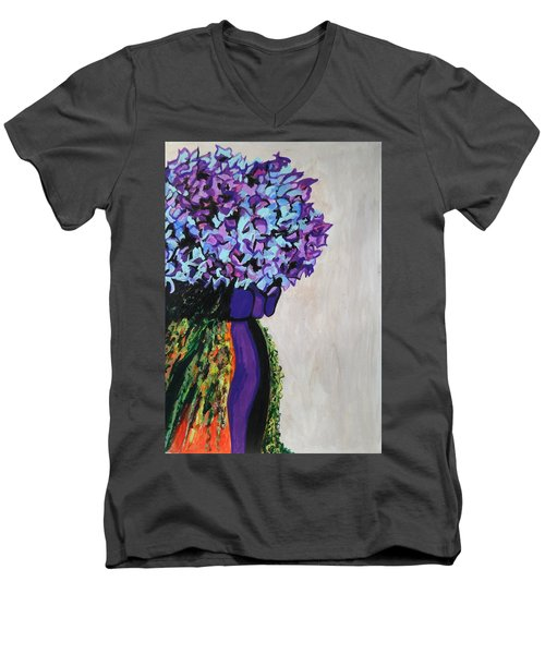 Indigo Flowers For Ma Men's V-Neck T-Shirt by Esther Newman-Cohen