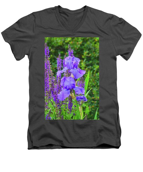 Indigo In Nature  Men's V-Neck T-Shirt by Bijan Pirnia