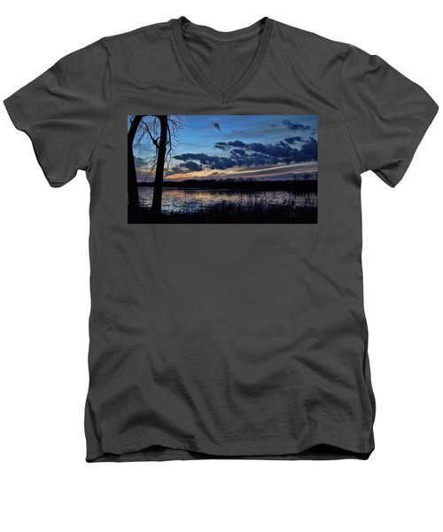 Men's V-Neck T-Shirt featuring the photograph Indigo Skies by Cricket Hackmann