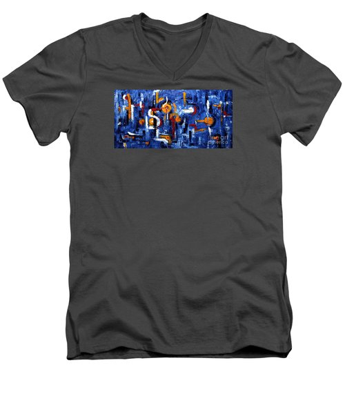Men's V-Neck T-Shirt featuring the painting Industrial Abstract by Arturas Slapsys
