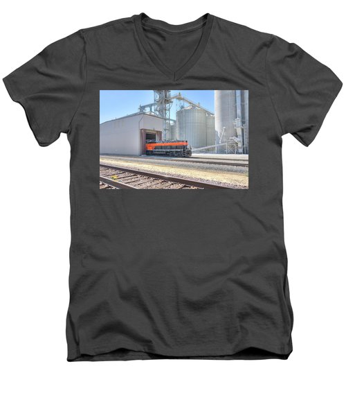 Men's V-Neck T-Shirt featuring the photograph Industrial Switcher 5405 by Jim Thompson