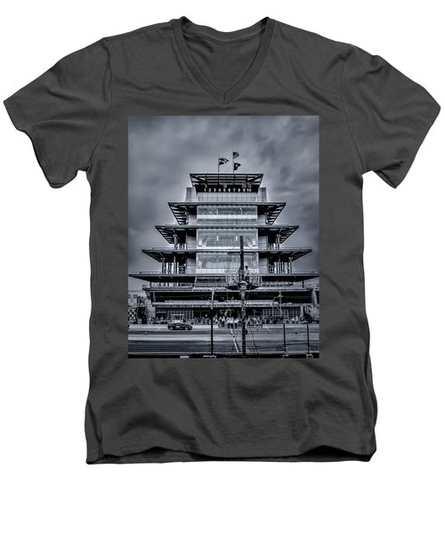 Indy 500 Pagoda - Black And White Men's V-Neck T-Shirt