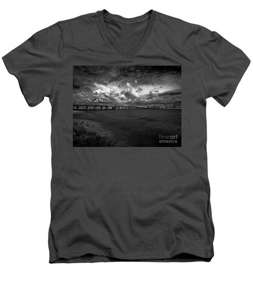 Infrared Longboat Pass Bridge Men's V-Neck T-Shirt