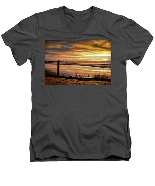 Inlet Watch At Dawn Men's V-Neck T-Shirt by Phil Mancuso