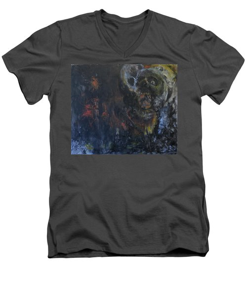 Men's V-Neck T-Shirt featuring the painting Innocence Lost by Christophe Ennis