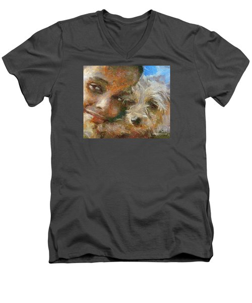 Men's V-Neck T-Shirt featuring the painting Innocent Love by Dragica  Micki Fortuna