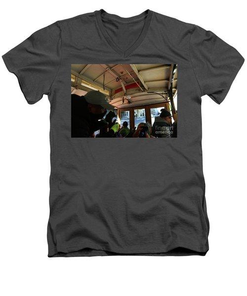 Inside A Cable Car Men's V-Neck T-Shirt