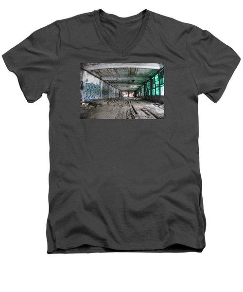 Inside Detroit Packard Plant  Men's V-Neck T-Shirt by John McGraw