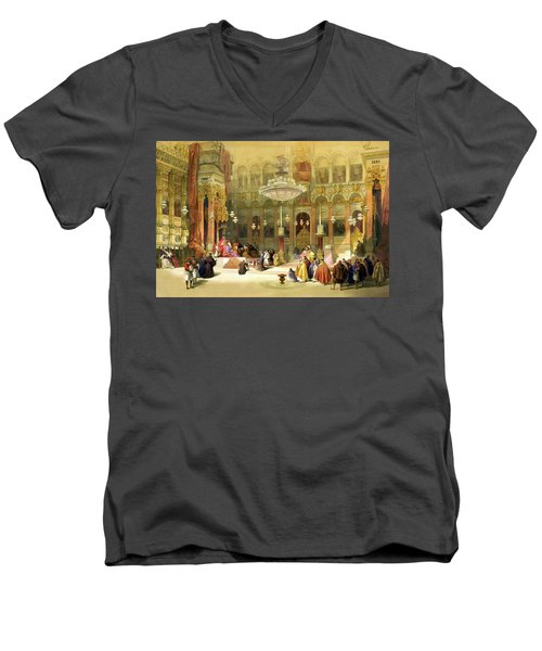 Inside The Church Of The Holy Sepulchre Men's V-Neck T-Shirt by Munir Alawi