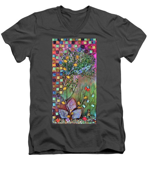 Inside The Garden Wall Men's V-Neck T-Shirt by Donna Blackhall