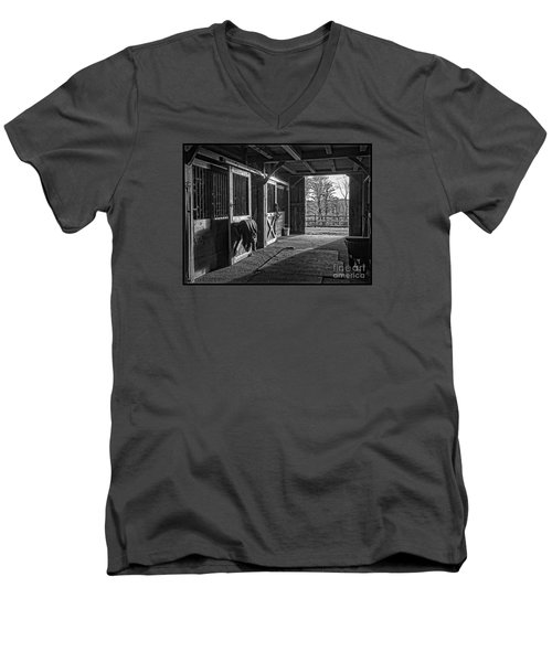 Men's V-Neck T-Shirt featuring the photograph Inside The Horse Barn Black And White by Edward Fielding