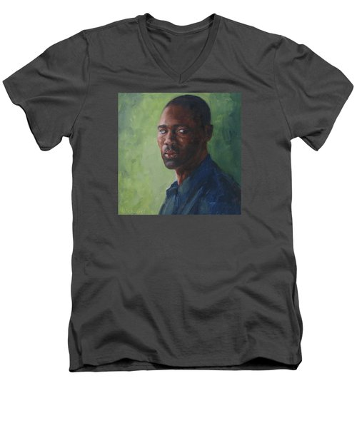 Intense Gaze Men's V-Neck T-Shirt by Connie Schaertl