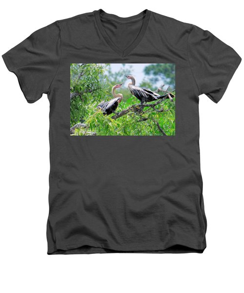 Men's V-Neck T-Shirt featuring the photograph Interacting Young Anhingas by Rosalie Scanlon