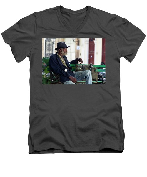 Men's V-Neck T-Shirt featuring the photograph Interesting Cuban Gentleman In A Park On Obrapia by Charles Harden
