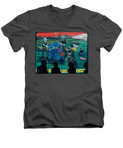 Men's V-Neck T-Shirt featuring the painting Intergalactic Misunderstanding by Similar Alien