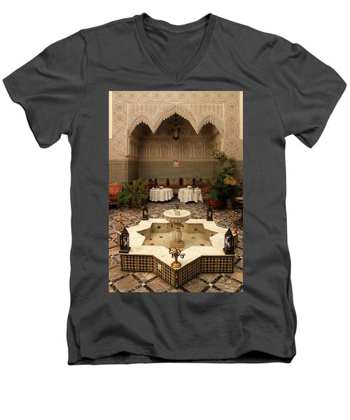 Interior Of A Traditional Riad In Fez Men's V-Neck T-Shirt by Ralph A  Ledergerber-Photography