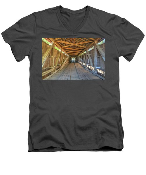 Men's V-Neck T-Shirt featuring the photograph Interior View - Conley's Ford Covered Bridgee by Harold Rau
