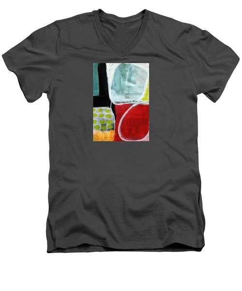 Intersection 37- Abstract Art Men's V-Neck T-Shirt by Linda Woods