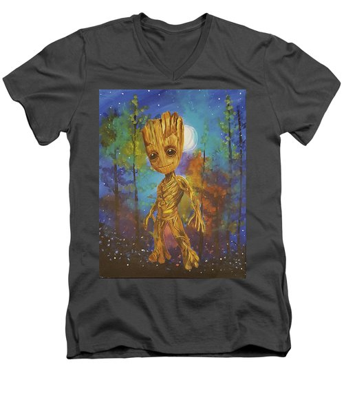 Into The Eyes Of Baby Groot Men's V-Neck T-Shirt