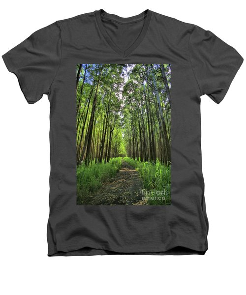 Men's V-Neck T-Shirt featuring the photograph Into The Forest by DJ Florek