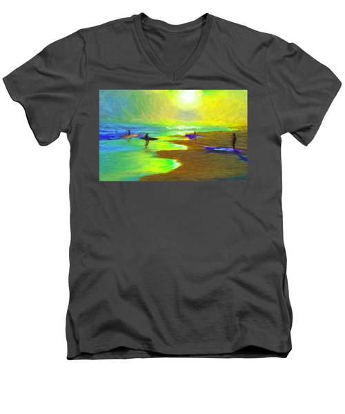 Into The Surf Men's V-Neck T-Shirt by Caito Junqueira