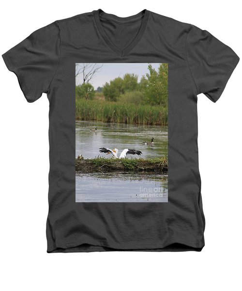 Men's V-Neck T-Shirt featuring the photograph Into The Water by Alyce Taylor