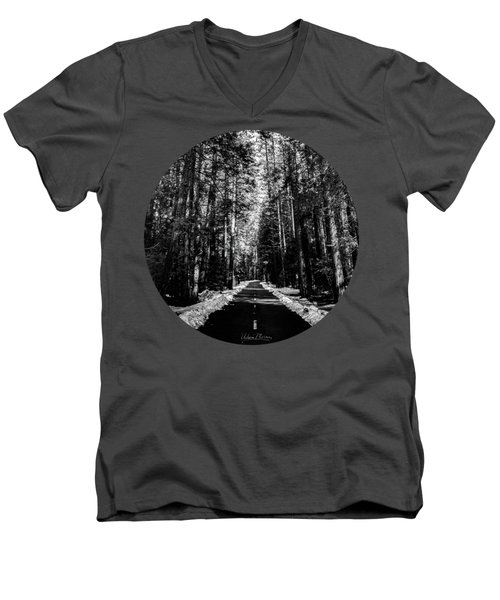 Into The Woods, Black And White Men's V-Neck T-Shirt by Adam Morsa