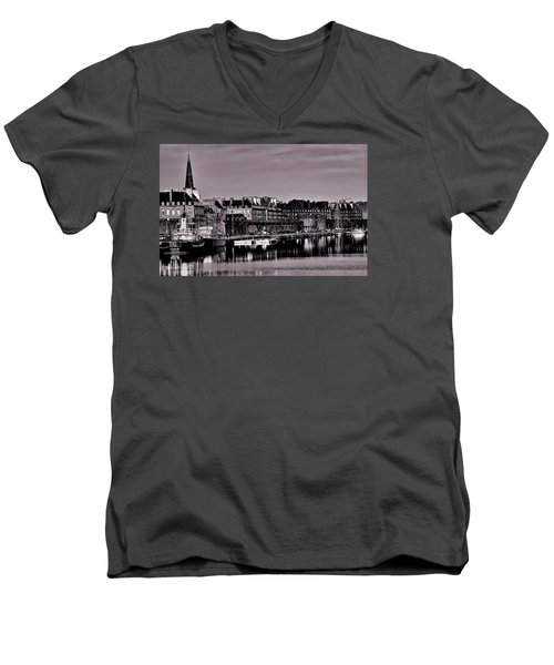 Men's V-Neck T-Shirt featuring the photograph Intra Muros At Night by Elf Evans