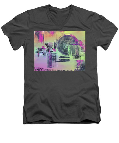 Men's V-Neck T-Shirt featuring the painting Introvert by Melissa Goodrich