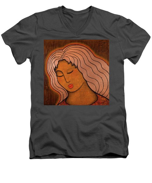 Men's V-Neck T-Shirt featuring the mixed media Intuitive Listening by Gloria Rothrock
