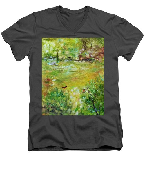 Men's V-Neck T-Shirt featuring the painting Invincible Spring by Judith Rhue