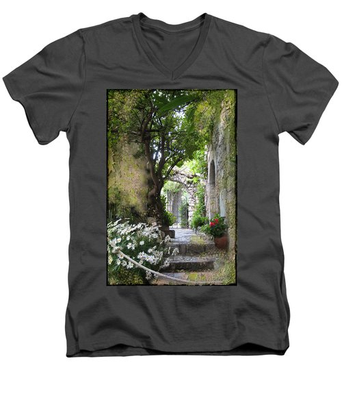 Inviting Courtyard Men's V-Neck T-Shirt by Carla Parris