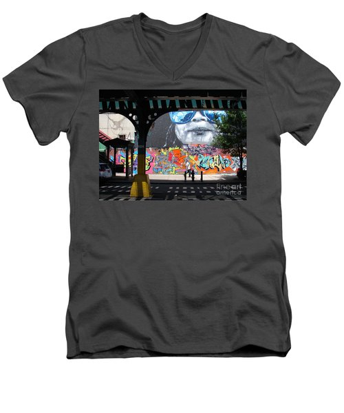 Men's V-Neck T-Shirt featuring the photograph Inwood Street Art  by Cole Thompson